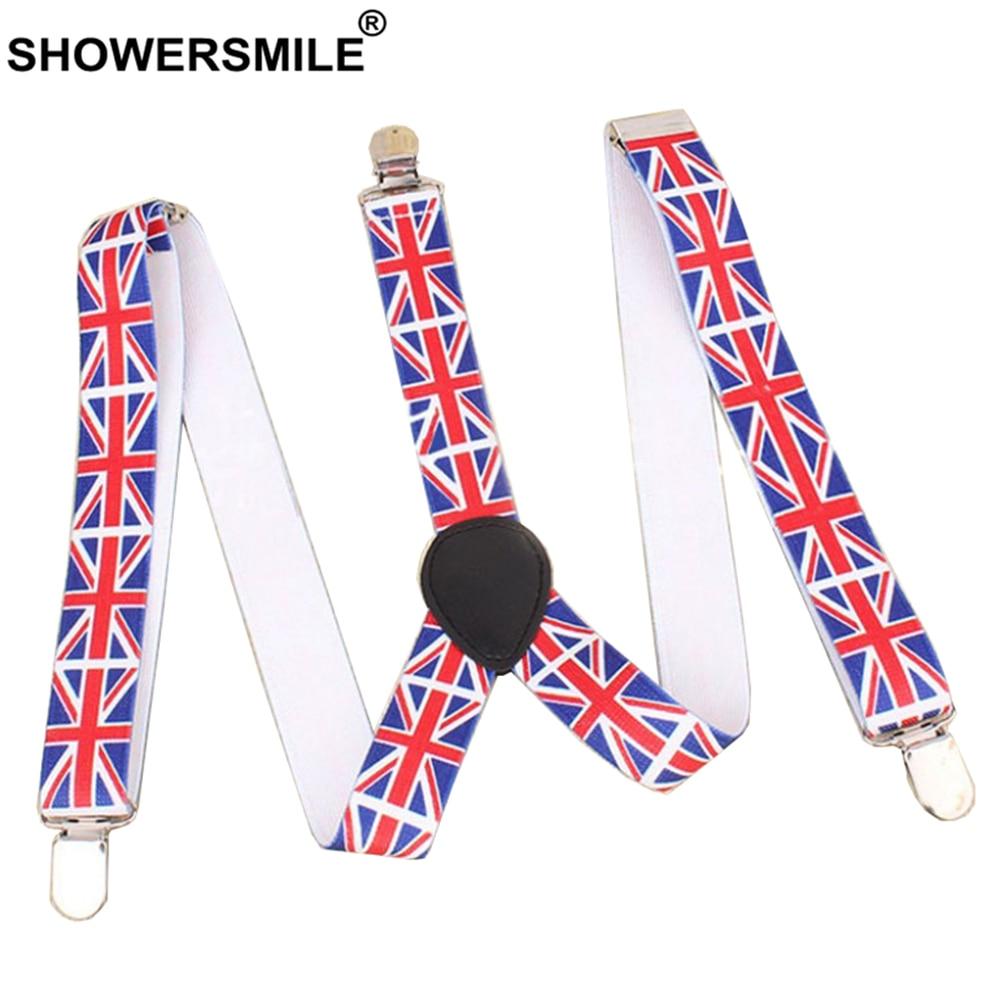SHOWERSMILE Men Suspenders British Flag Male Pants Strap Fashion 3 Clips Y Back Elastic Adjustable Big Kids Braces Suspenders