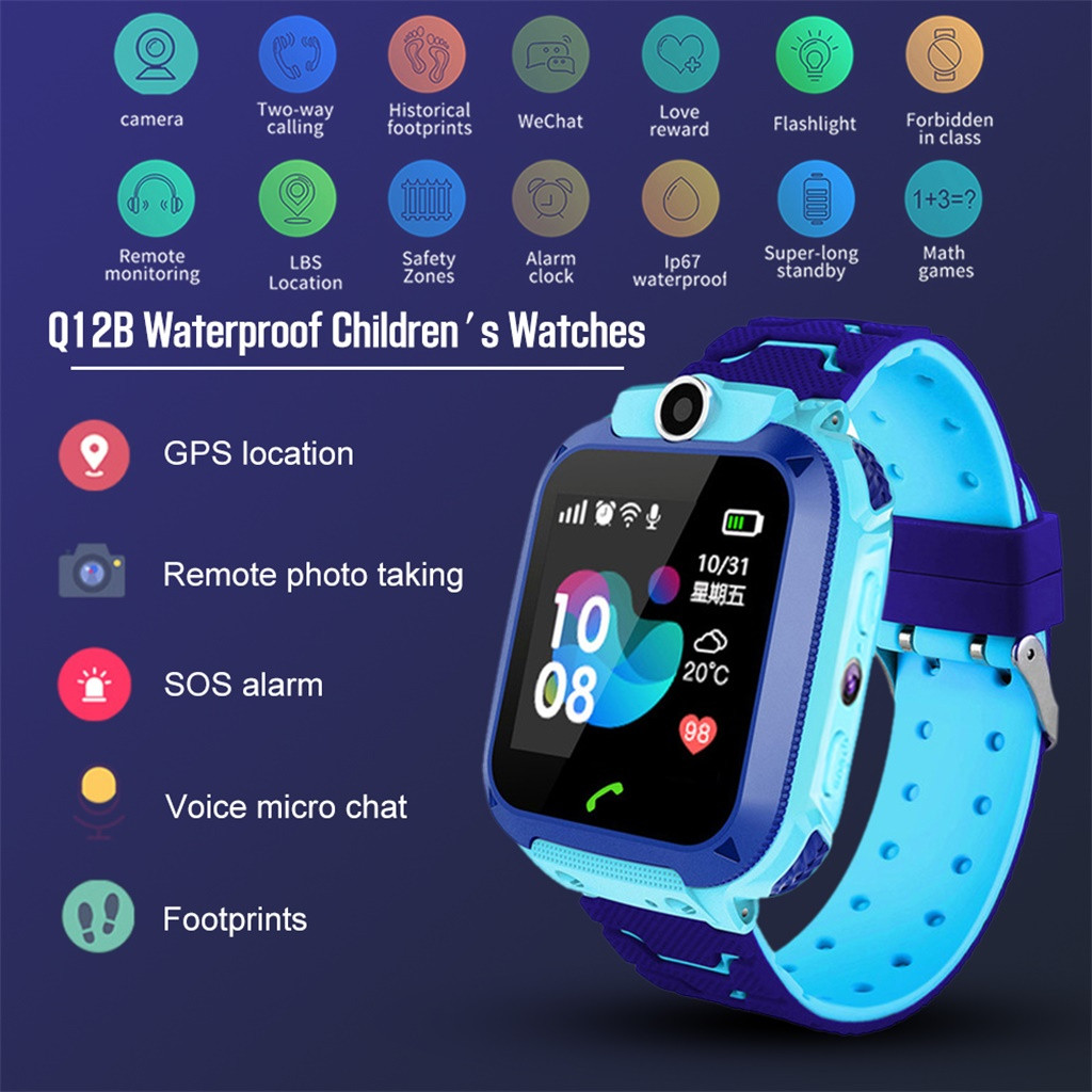 Baby Watch Anti-Lost-Monitor Voice-Chat Waterproof Q12 Tracker Gps-Finder LBS No Locator
