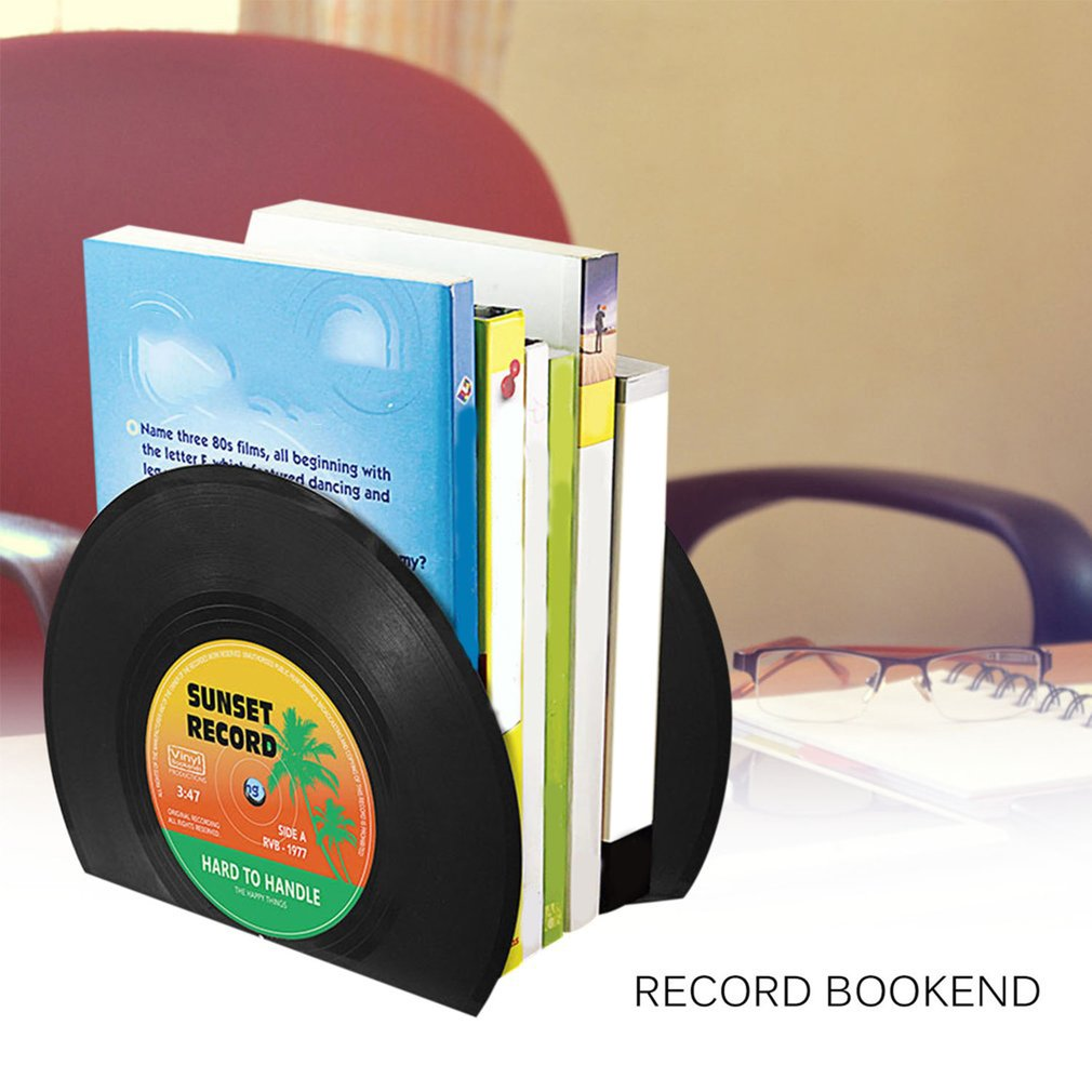 1 Pair Record Bookend Plastic Unique Design  Easy To Use And Practical Drop Shipping