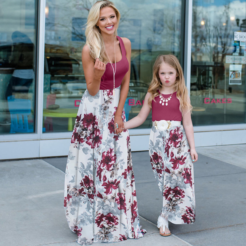 2021 Family Matching Maxi Dress Mom And Me Daughter Summer Patchwork Floral Long Dress For Women Clothes Mother Baby Girl Outfit 3