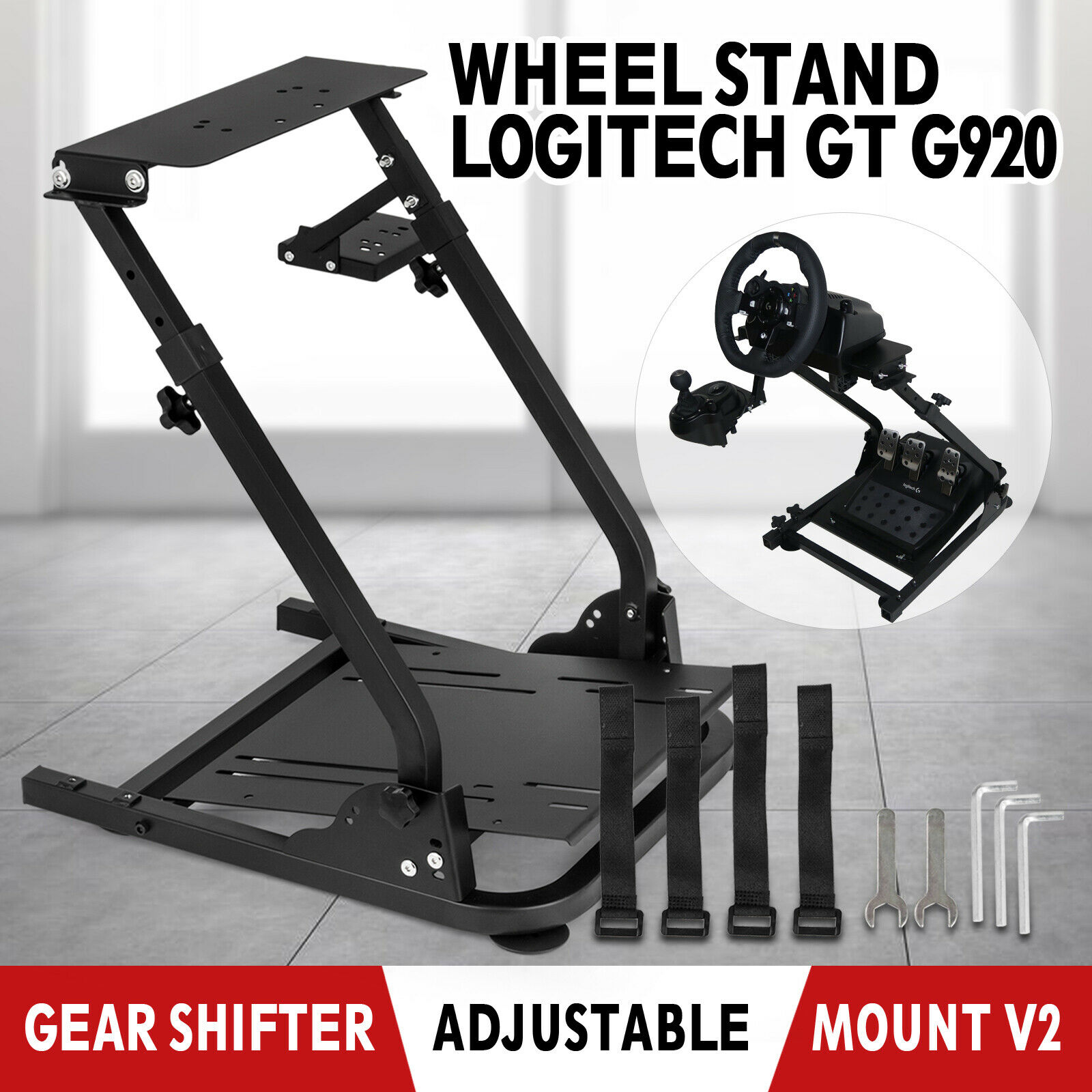 Self-Career Race Steering Wheel Support for Logitech G25 G27 G29 and G920 Folding Steering Wheel Stand