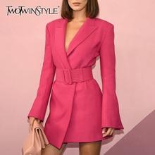TWOTWINSTYLE FlareแขนยาวNotched Collar RoseสีชมพูBlazerชุดเข็มขัดผู้หญิงผู้หญิงชุดมินิ2020ฤดูใบไม้ร่วง