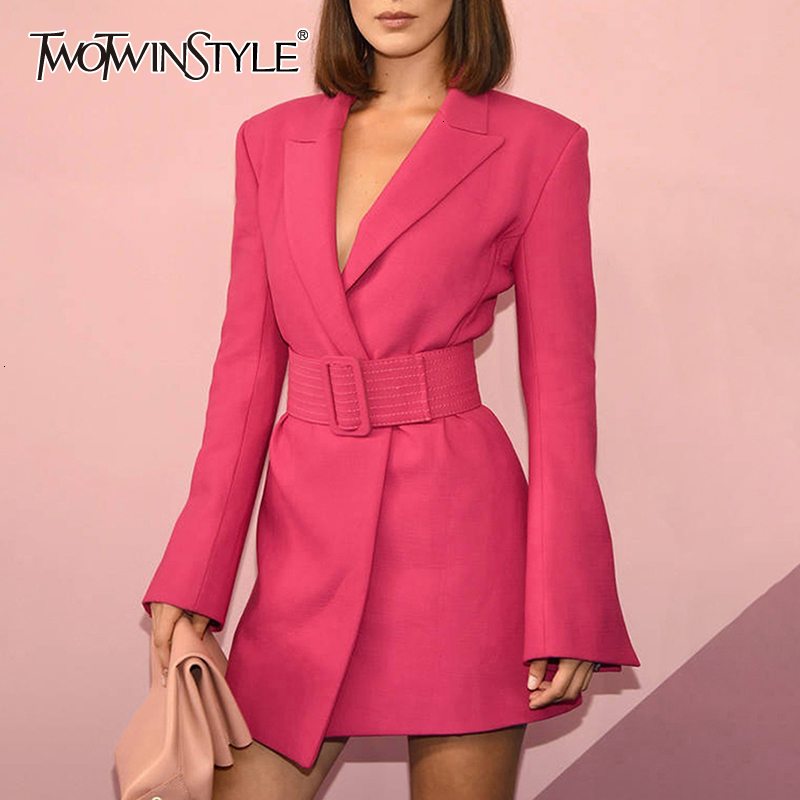 TWOTWINSTYLE Flare Sleeve Long Sleeve Notched Collar Rose Pink Blazer Dress With Belt Office Lady Women Mini Dresses 2019 Autumn