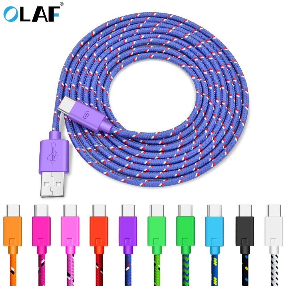 OLAF Nylon Braided USB Type C Cable 1M 2M 3M Data Sync Fast Charging USB C Cable For Samsung S9 S10 Xiaomi Mi9 Mi8 Huawei Type-c