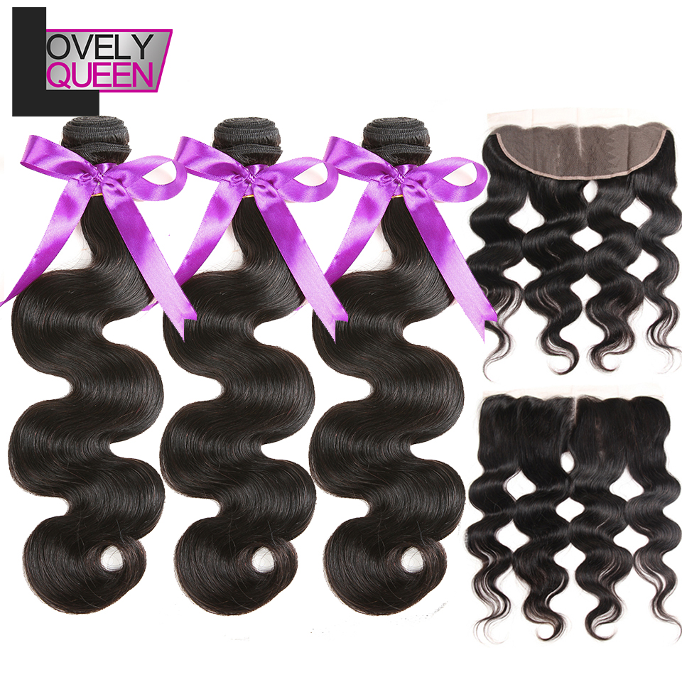 Brazilian Hair Body Wave Bundles With Frontal 3 Bundles With Frontal Closure Non Remy Wet And Wavy Human Hair Extensions