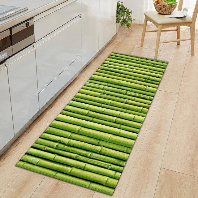 Lange Küche Matte Flanell Boden Matte Teppich Bambus gras Hause Fußmatte Morden Teppich Schlafzimmer Wohnzimmer Bad Boden Matten Tatami tapete