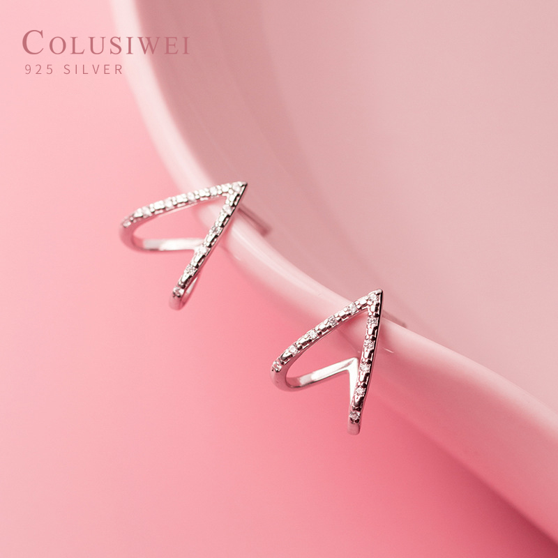 Colusiwei Romantic 925 Sterling Silver Sparkling CZ Love Hearts Tiny Stud Earring for Women Anti-allergy Ear Pin Fine Jewelry