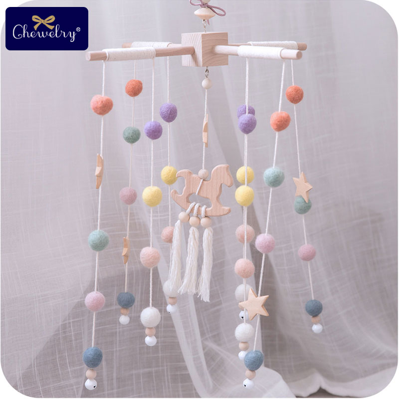 Bopoobo Baby Bed Bell Hanging Rattles Toys Crib Mobiles Wool Balls Beech Wood Trojan Rattle Nursing Children Goods For Kids Toys