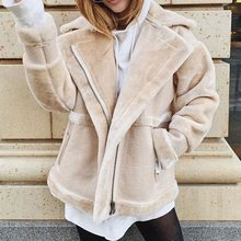 цена на Women Faux Leather Lambs Wool Coat Korean Short Thick Warm Shearling Coats Suede Leather Jackets Autumn Winter Female Outerwear