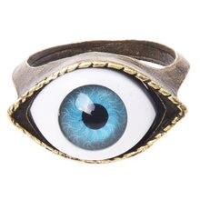 Ретро тибетский глаз готическое Золотое металлическое кольцо
