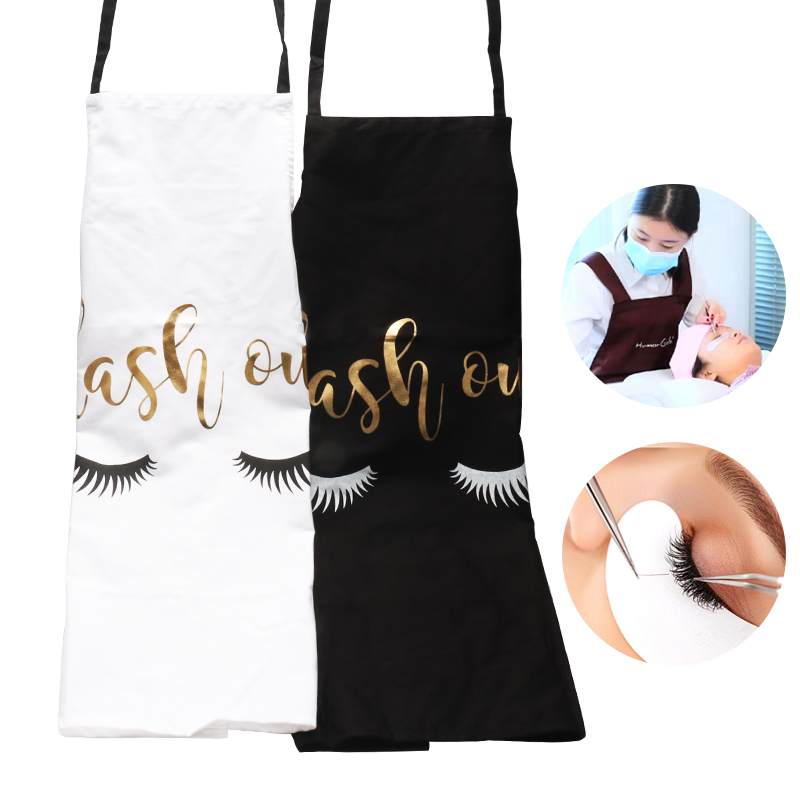 Bronzing Eyelash Pattern Kitchen Apron Women Adult Home Cooking Baking Cleaning Aprons Bibs Kitchen Eyelash Extension Tools