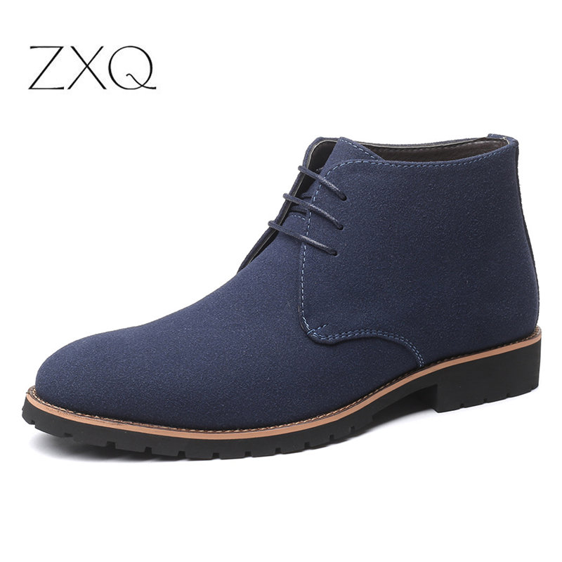 Plus Size 38-48 Black Blue Brown Men Boots Solid Casual Leather Autumn Winter Ankle Boots Male Suede Leather Men Shoes