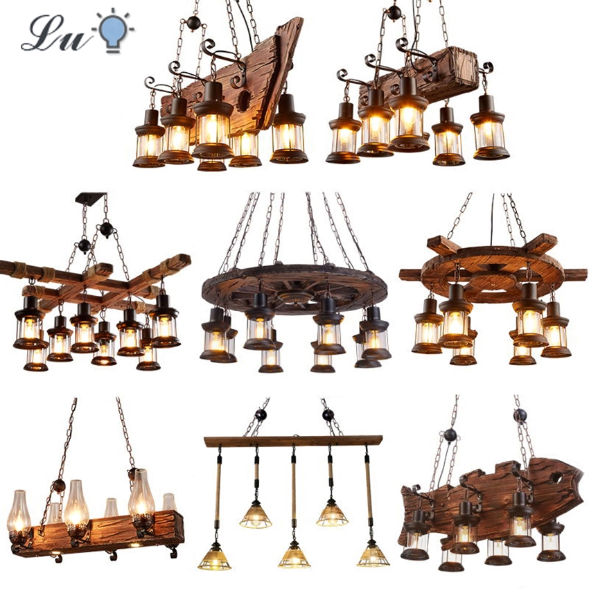 Nordic Industrial LED Pendant Lights Solid Wood Retro Pendant Lamp Living Roon Restaurant Hanging Lamp Bulb E27 Lndoor Lighting