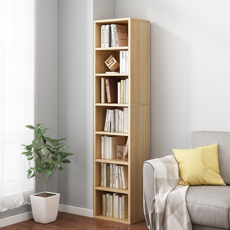 Bookshelf Simplicity Floor Plaid Multilayer Cabinet Storage Shelf Student Household Bedroom Solid Wood Creative Storage Cabinets