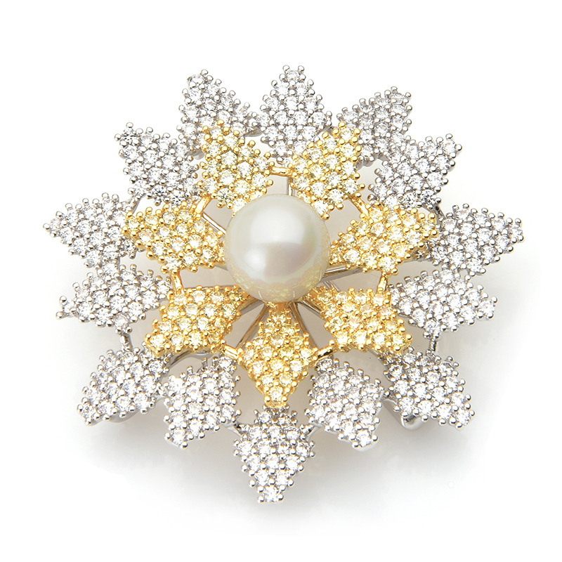 Wuli&baby Luxury Cubic Zircon Snowflake Brooches Women Pearl Sparkling Flower Banquet Weddings Brooch Pins New Year Gifts
