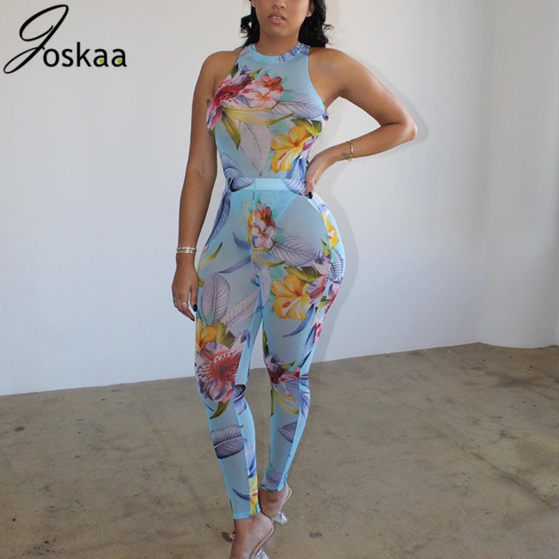 Joskaa Mesh Print Floral Print Women Sleeveless Bodysuit + Long Pants 2 Piece Set Sexy Club Night Party Matching Tracksuit