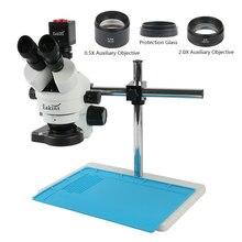 3.5x 90x parfocal simul focal trinocular microscópio estereofônico 13mp hdmi vga câmera para o reparo do telefone celular