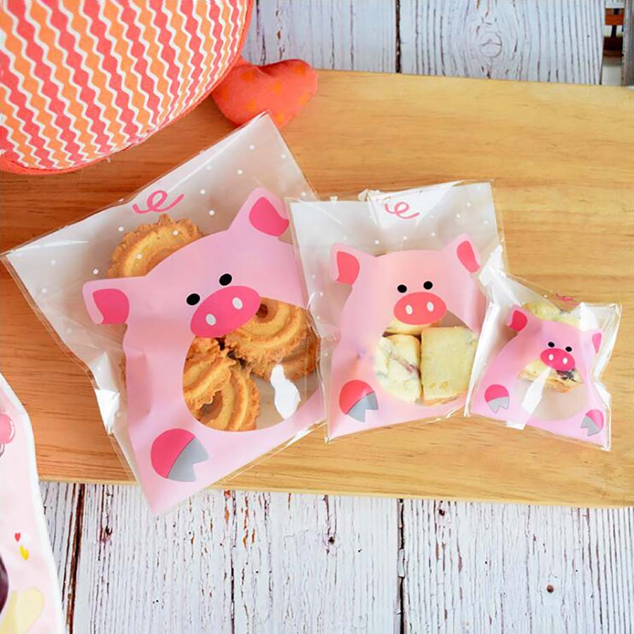 100pcs Cute Big Teech Mouth Monster Plastic Bag Wedding Birthday Cookie Candy Gift Packaging Bags OPP Self Adhesive Party Favors in Gift Bags Wrapping Supplies from Home Garden