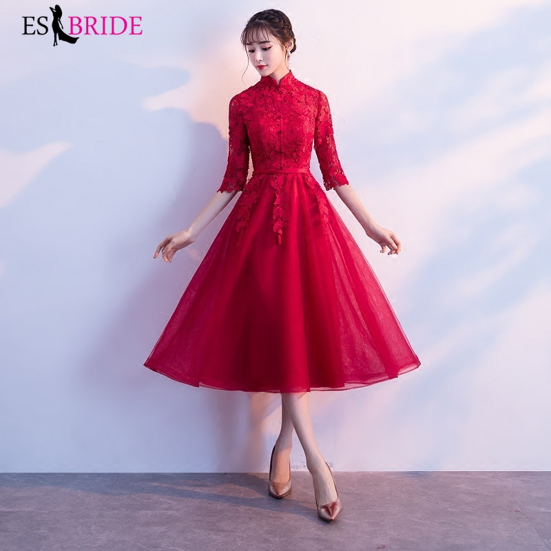 2019 Women Sexy Lace Evening Dresses elegant lace high Neck A-Line Short Sleeve Casual Midi Party Dress robe de soiree ES1161