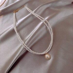 Новинка 2020, мини жемчужное колье для женщин, Двухслойное элегантное простое ювелирное изделие, подарки