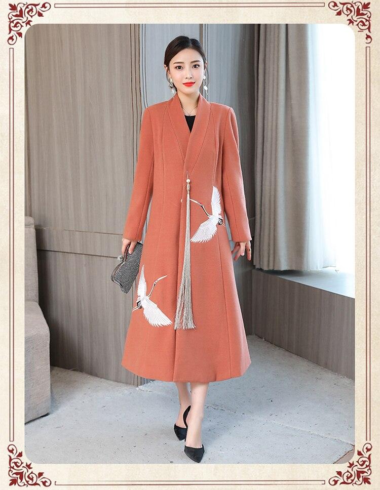 lã casaco longo feminino coreano topos mujer