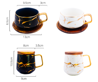 Creative Fresh Nordic Style Marble Matte Gold Ceramic Cup Tea Coffee Mug With Wooden Lid Tray Gift