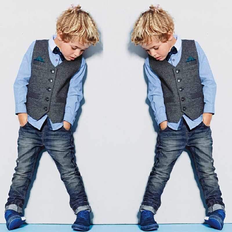 Boys cowboy long pants gentlemen formal clothing Baby boys suit Long sleeve shirt + stripe vest + jeans 3pcs Party clothes set