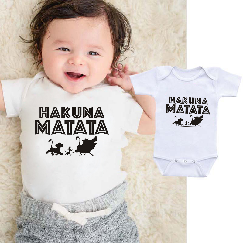 DERMSPE 2019 Summer Fashion Toddler Baby Girls Boys Romper Jumpsuit HAKUNA MATATA Short Sleeve Sunsuit 0-24M White Clothes