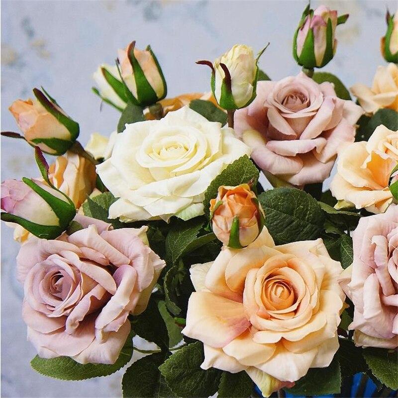 1 Pza 2 ramas rosas Faux flor ramo Artificial tela flor 1 flor 1 bud bricolaje casa decoración San Valentín día 4 colores Rosas artificiales amantes de la flor del Día de San Valentín cristal Rosa regalos de boda pequeño regalo fiesta festiva suministros flores