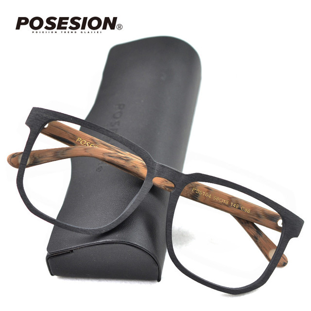 Posesion Square Acetata Large Men Eyeglasses Frames Vintage Wooden Big Face Women Myopic Optical Glasses Clear Lens Eyewear