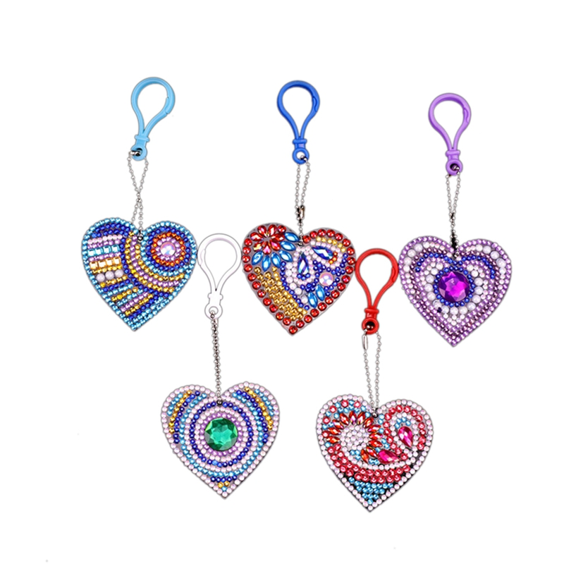 New 5D Diy Diamond Painting Color Heart-Shaped Keychain Pendant Special Shape Diamond Embroidery Child Manual Gift
