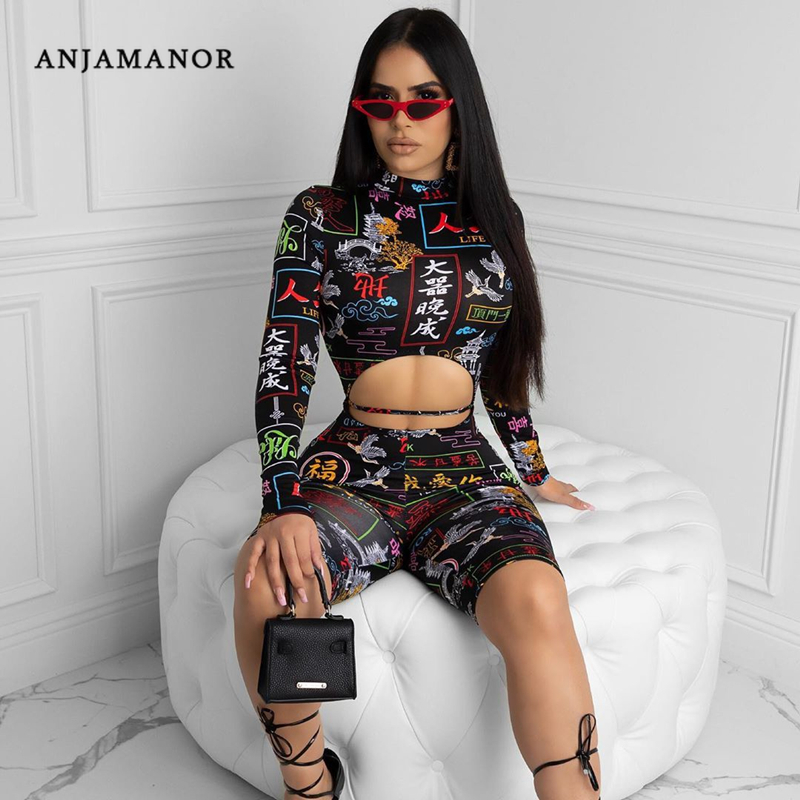 ANJAMANOR Sexy Print Rompers Womens Fashion Spandex One Piece Bodycon Jumpsuit Club Outfits 2020 Clothes For Women D35-AD22