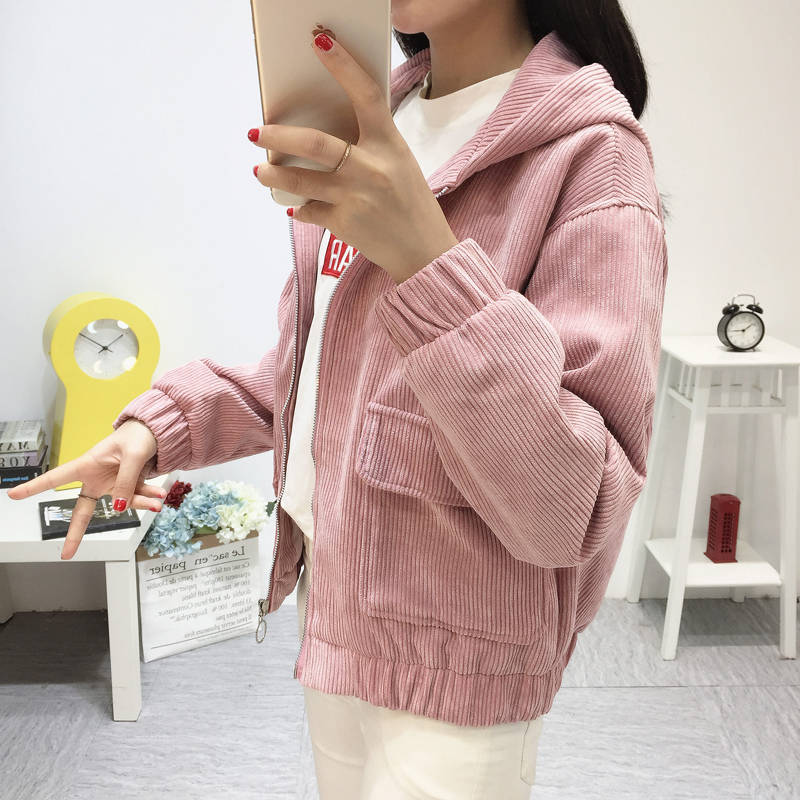 H572c88a306534f05932354a5afe54f40D Jacket Chaqueta Coat  Clothes Streetwear New 2019 Women Jacket Long Sleeve Turn-down Collar Outerwear Brown Corduroy Coat Jacket
