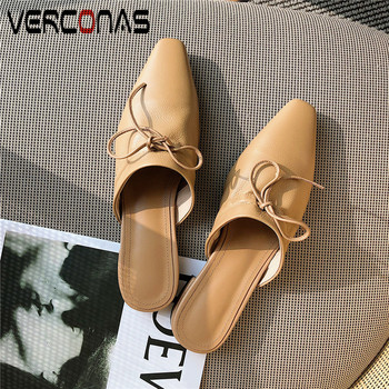 VERCONAS   Summer Mules Fashion Genuine  Leather Woman Pumps Woman Sandals   Butterfly Knot Square Toe Square Heels Shoes Woman