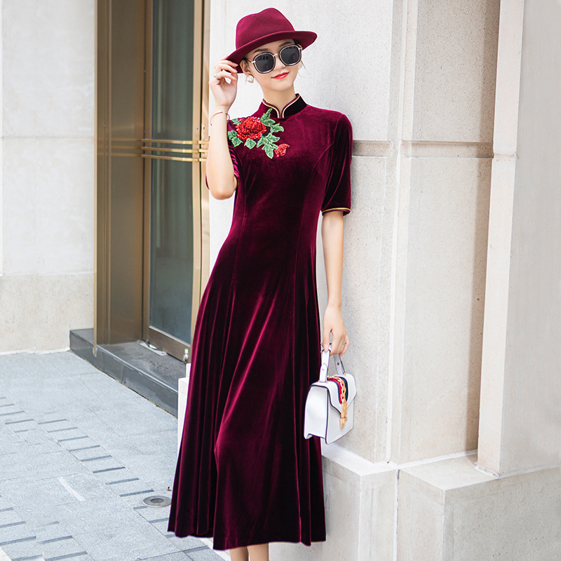 2019 Direct Sale Spandex Posed Velvet Cheongsam Dress Young Fashion A New Winter Improved Festive Female Restoring Ancient Ways