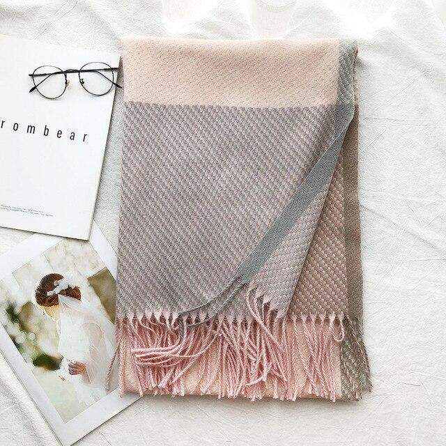 Confecção de malhas de Cashmere Pashmina Lenço Longo Lenço com Tessel Inverno Mais Quente Cachecol Moda de Presente de Luxo para As Mulheres Senhoras