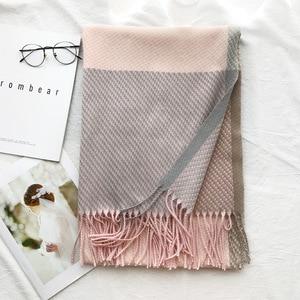 Image 1 - Örgü kaşmir Pashmina eşarp uzun eşarp Tessel sıcak kış moda eşarp lüks hediye kadınlar bayanlar için
