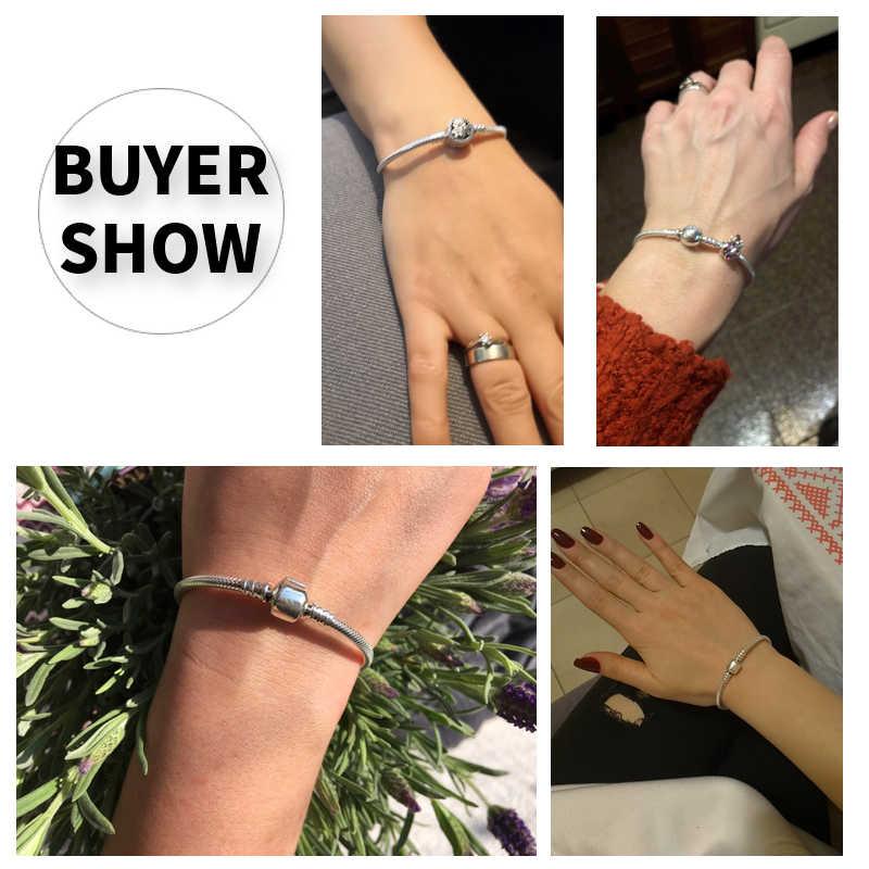 Luksusowe 100% 925 Sterling Silver oryginalny 3 style łańcuch bransoletka Bangle dla kobiet Fit DIY Charm koralik autentyczne biżuterii prezent