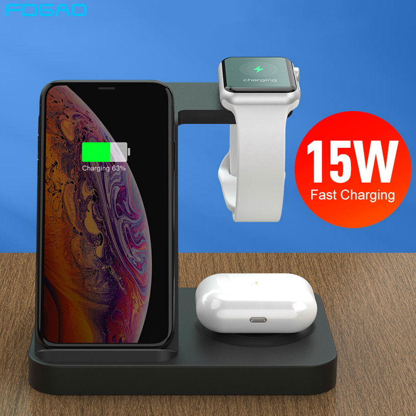 3 in <font><b>1</b></font> 15W Fast Qi Wireless Charger For <font><b>iPhone</b></font> SE 2 11 XS XR X 8 Dock Station For Apple Watch <font><b>5</b></font> 4 3 2 Airpods Pro Charging Stand image