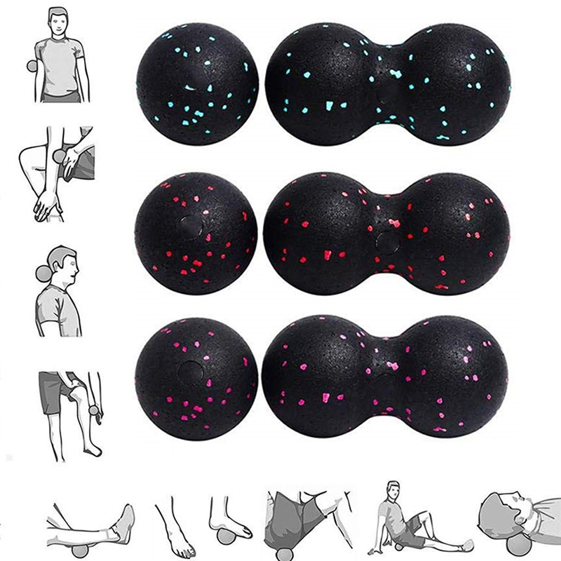 (Ship Now) 2Pc Peanut Fitness Massage Ball Set Double Lacrosse Mobility Ball For Myofascial Physical Therapy Deep Tissue Massage
