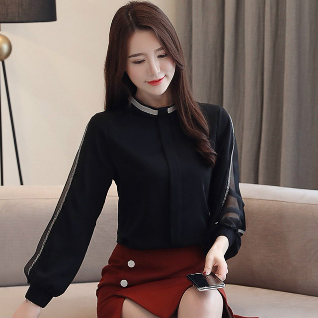 Women chiffon blouse New 2019 Fashion Casual Hollow out Chiffon shirt Elegant Slim Stand collar Women tops blouse 3