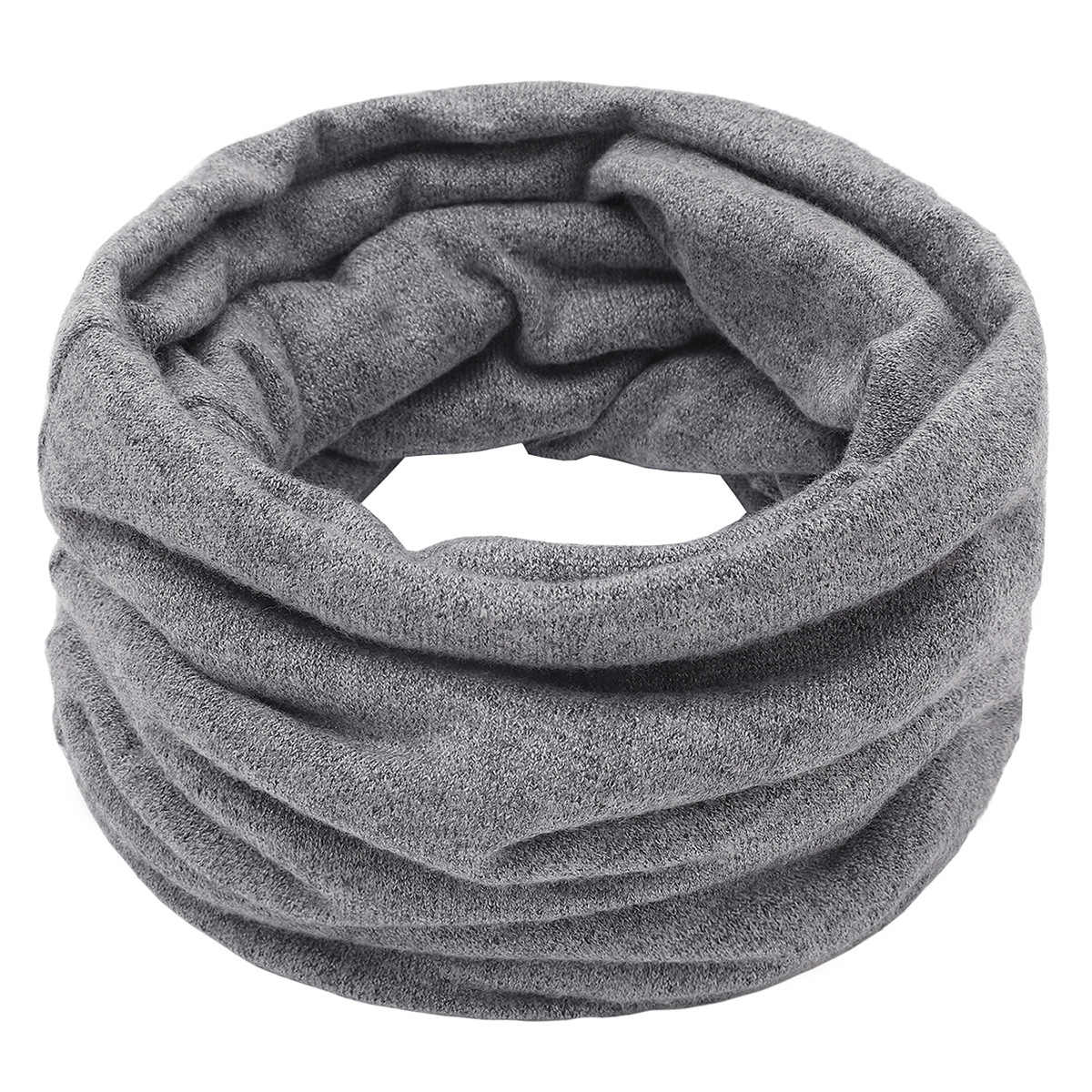 Plain Color Cotton Neck Warmer Reversible Winter Warm Neck Gaiter Tube Ear Warmer Circle Scarf for Man Woman