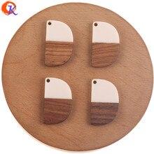 Design cordial 100 pces 18*30mm jóias acessórios/diy brincos fazendo/madeira & resina/forma semicircular/feito à mão/brinco descobertas