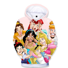 3D Print Disney princess Boys Girls Hoodies Autumn Winter Ou