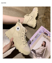 Martin boots female 2019  autumn new flat casual shoes Sneakers women with high top canvas zapatos de mujer Z221