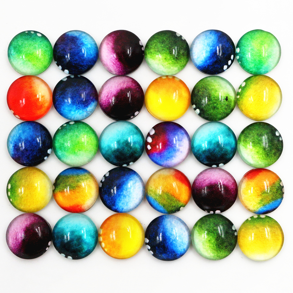50pcs/Lot 12mm Photo Glass Cabochons Mixed Color Cabochons For Bracelet Earrings Necklace Bases Settings-D5-16