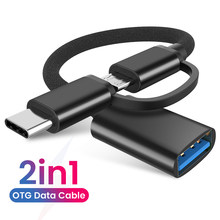 2 w 1 USB 3.0 OTG Adapter kabel typu C Micro USB na USB 3.0 konwerter adapter do Samsung 2w1 Nylon Braid kabel danych