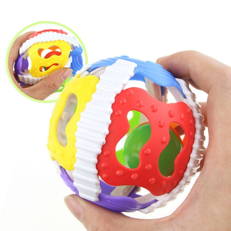 Sonajero de juguete para bebés de calidad alimentaria mordedor sonajero de plástico de mano de campana de inteligencia agarrando encías mordedor de bebé juguete para 0-3 años