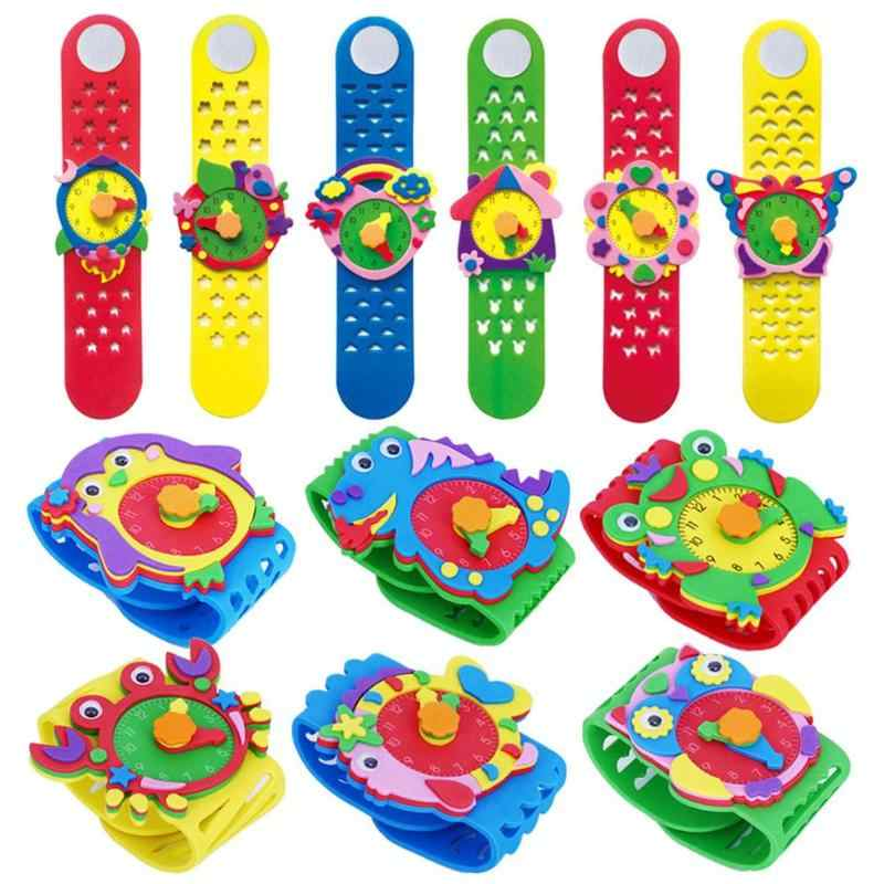 Baru DIY 3D EVA Stiker Buatan Tangan Watch Clock Anak-anak Belajar TK Permainan Edukatif Mainan Baru Pola Acak Mengirim