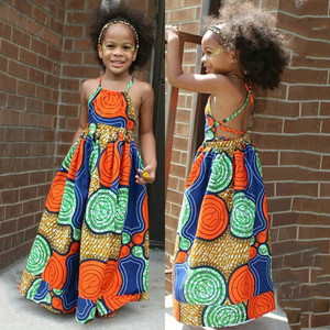 Summer African Girls Dress Kids Girls African Dashiki 3D Digital Print Suspenders Princess Dress Beach Casual Baby Dress Clothes